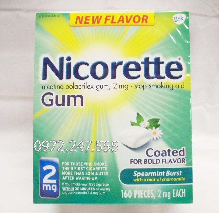 Kẹo nicorette 2mg hương bạc hà hoa cúc