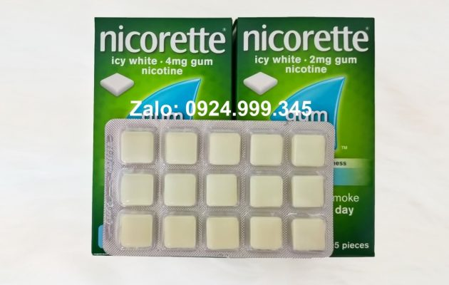 Kẹo Nicorette 4mg vỉ 15 viên