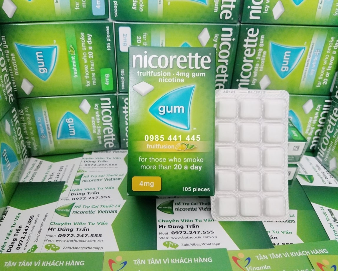 Kẹo cai thuốc lá Nicorette 4mg hương trái cây