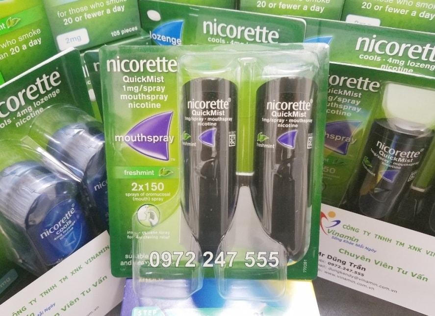 Chai xịt Nicorette spay tăng hiệu quả cai thuốc lá