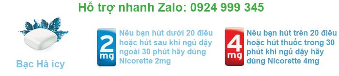 Kẹo Nicorette 2mg dùng cho hút dưới 20 điếu