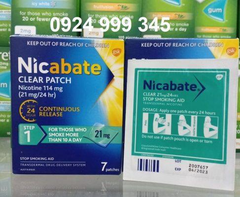Miếng dán cai thuốc lá Nicabate